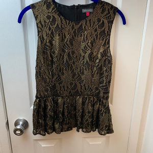 Vince Camuto Gold and Black Lace Top. S/P